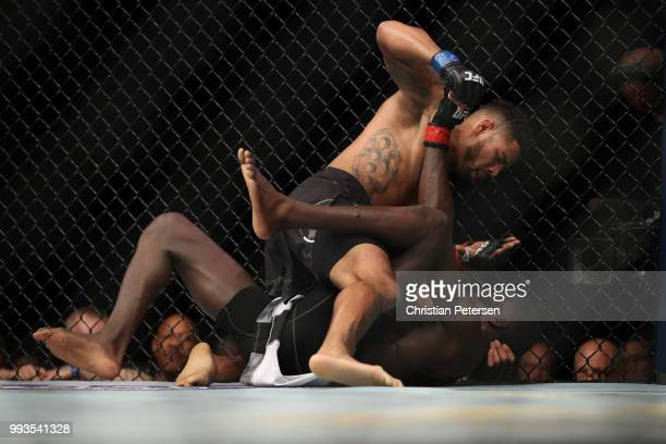 Max Griffin controls the body of Curtis Millender in their welterweight fight during the UFC 226 event inside TMobile Arena on July 7 2018 in Las...