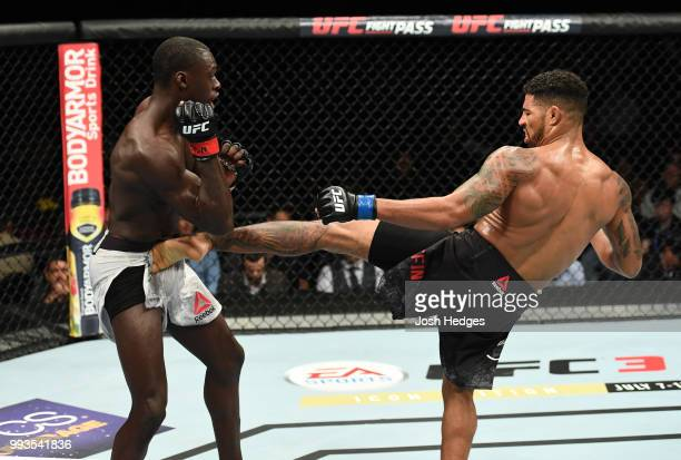 Max Griffin kicks Curtis Millender in their welterweight fight during the UFC 226 event inside TMobile Arena on July 7 2018 in Las Vegas Nevada