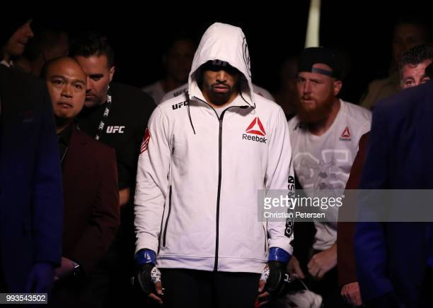 Max Griffin prepares to enter the Octagon against Curtis Millender in their welterweight fight during the UFC 226 event inside TMobile Arena on July...