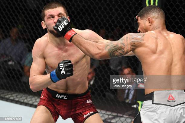 Max Griffin punches Zelim Imadaev of Russia in their welterweight bout during the UFC 236 event at State Farm Arena on April 13, 2019 in Atlanta,...