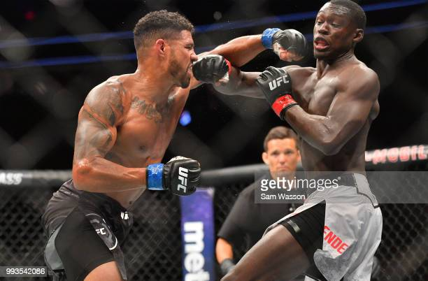 Max Griffin throws a punch against Curtis Millender during their welterweight fight at TMobile Arena on July 7 2018 in Las Vegas Nevada Millender won...