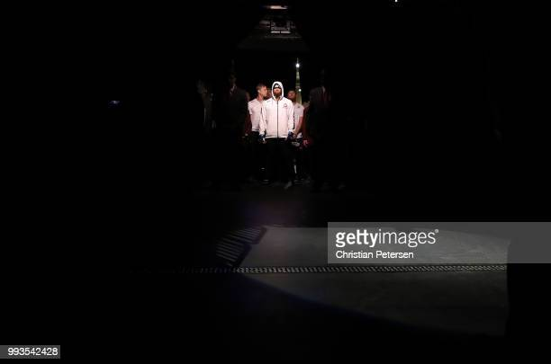 Max Griffin walks to the Ocatgon during the UFC 226 event inside TMobile Arena on July 7 2018 in Las Vegas Nevada