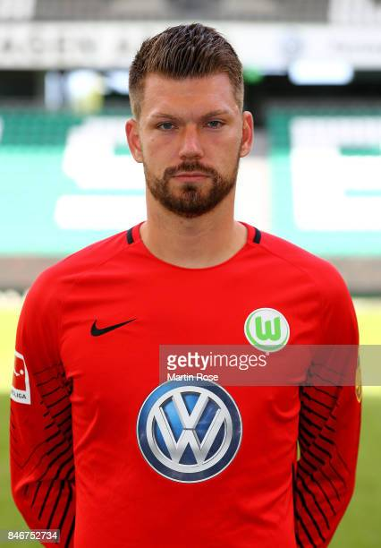 Max Grün of VfL Wolfsburg poses during the team presentation at on September 13 2017 in Wolfsburg Germany