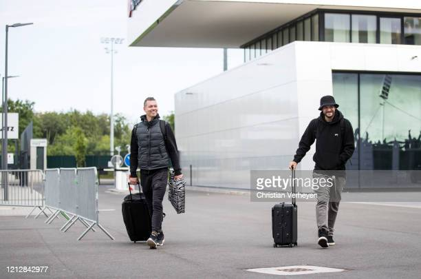 Max Gruen and Tobias Strobl of Borussia Moenchengladbach arrive at the HHotel during the PreGame Quarantine of Borussia Moenchengladbach at...