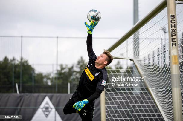 Max Gruen in action during a Borussia Moenchengladbach Training Session at BorussiaPark on August 02 2019 in Moenchengladbach Germany