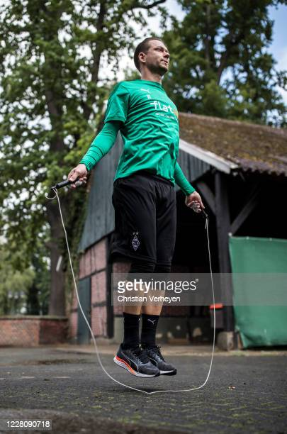 Max Gruen in action during a training session at the Borussia Moenchengladbach training camp at Klosterpforte on August 18, 2020 in Marienfeld,...