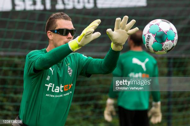 Max Gruen in action during a Training session at the Training Camp of Borussia Moenchengladbach at Klosterpforte on August 21, 2020 in Marienfeld,...