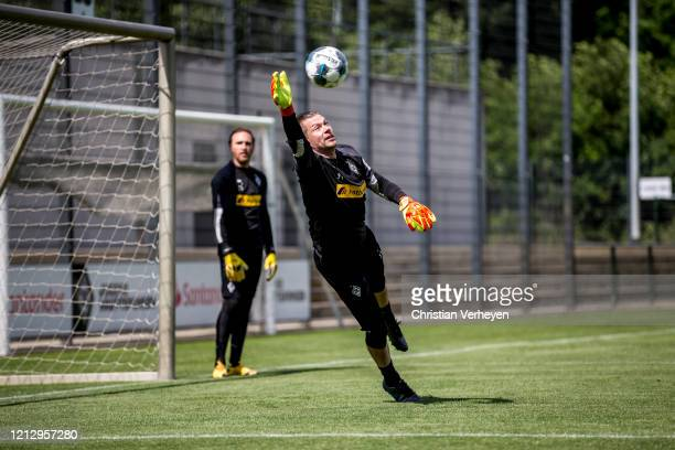 Max Gruen in action during a training session of Borussia Moenchengladbach at BorussiaPark on May 14 2020 in Moenchengladbach Germany