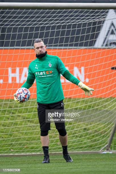 Max Gruen of Borussia Moenchengladbach in action during a Training session of Borussia Moenchengladbach at Borussia-Park on October 26, 2020 in...