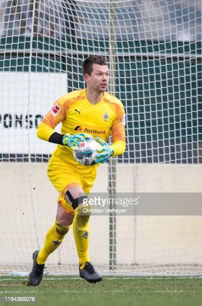 Max Gruen of Borussia Moenchengladbach in action during the friendly match between Borussia Moenchengladbach and MSV Duisburg at BorussiaPark on...