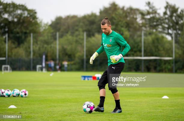 Max Gruen of Borussia Moenchengladbach in action during the Training Camp of Borussia Moenchengladbach at Klosterpforte on August 17, 2020 in...