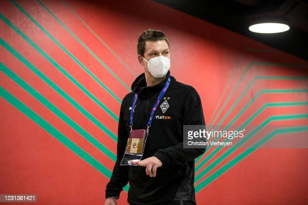 Max Gruen of Borussia Moenchengladbach is seen before the UEFA Champions League Round Of 16 Leg One match between Borussia Moenchengladbach and...