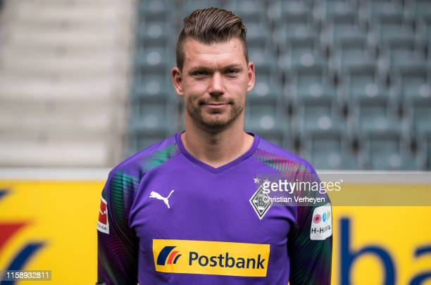 Max Gruen of Borussia Moenchengladbach poses during the team presentation at BorussiaPark on August 01 2019 in Moenchengladbach Germany at...