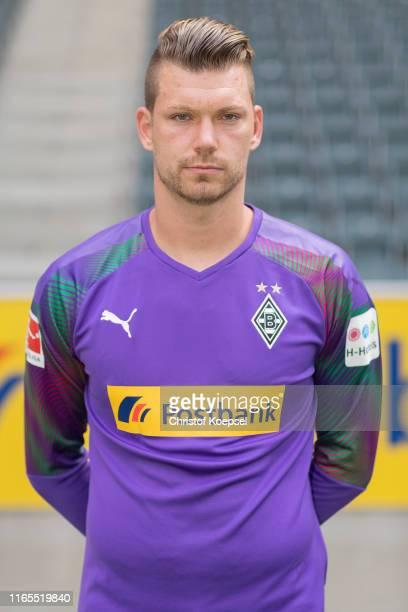 Max Gruen of Borussia Moenchengladbach poses during the team presentation at BorussiaPark on August 01 2019 in Moenchengladbach Germany