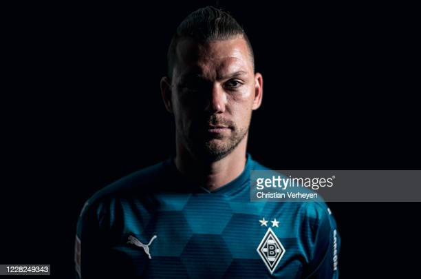 Max Gruen of Borussia Moenchengladbach poses during the team presentation at Borussia-Park on August 07, 2020 in Moenchengladbach, Germany.