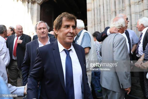 Max Guazzini is seen at the burial of Pierre Camou in Saint Jean Pied de Port during the Funeral of former rugby player Pierre Camou on August 18...