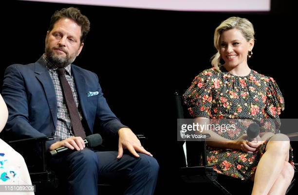 Max Handelman and Elizabeth Banks speak onstage during the Hulu Shrill FYC screening at the Television Academy on May 22 2019 in North Hollywood...