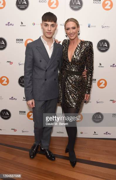 Max Harwood and Faye Tozer attend The WhatsOnStage Awards 2020 at The Prince of Wales Theatre on March 1 2020 in London England