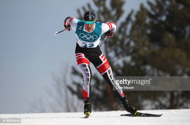 Max Hauke of Austria competes during the CrossCountry Skiing Men's 15km Free at Alpensia CrossCountry Centre on February 16 2018 in Pyeongchanggun...