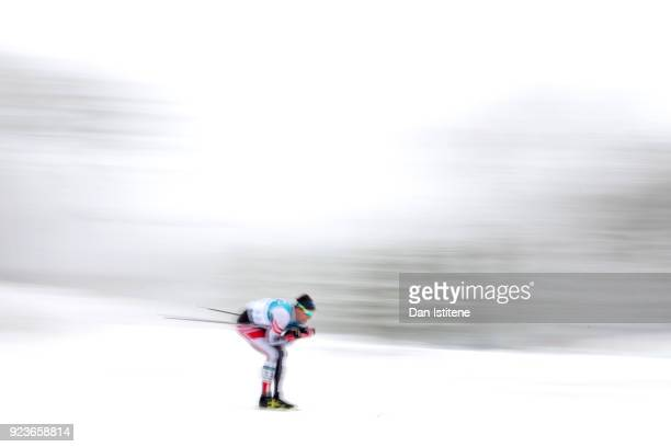 Max Hauke of Austria competes during the Men's 50km Mass Start Classic on day 15 of the PyeongChang 2018 Winter Olympic Games at Alpensia...