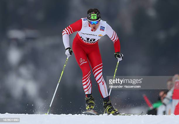 Max Hauke of Austria in action during the Men's Cross Country Individual 15km at the FIS Nordic World Ski Championships on February 27 2013 in Val di...