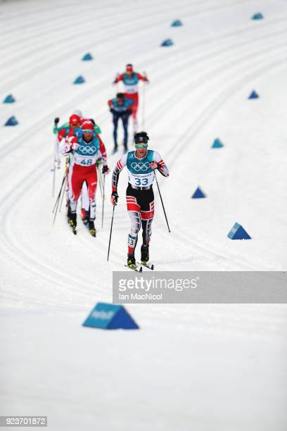 Max Hauke of Austria is seen during the Men's 50km Mass Start Classic at Alpensia CrossCountry Centre on February 24 2018 in Pyeongchanggun South...