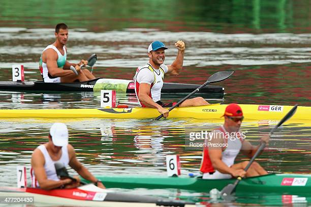 Max Hoff of Germany celebrates after crosses the line to win Final A Kayak Single 1000m Men during day three of the Baku 2015 European Games at...