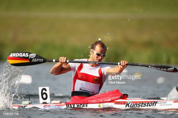 Max Hoff of Germany in action during a Mens K1 Class race during day one of the London Canoe Sprint Invitational at Eton Dorney on September 1 2011...