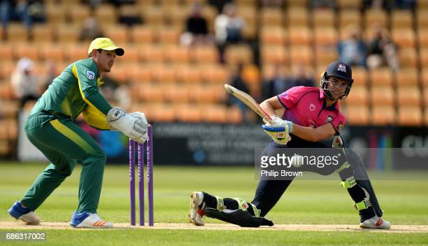 Max Holden of Northamptonshire bats during the oneday match between Northamptonshire and South Africa at the County Ground on May 21 2017 in...