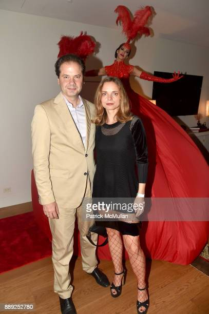 Max Hollein and Nina Hollein attend the Galerie Gmurzynska Dinner in Honor of Jean Pigozzi at the Penthouse at the Faena Hotel Miami Beach on...