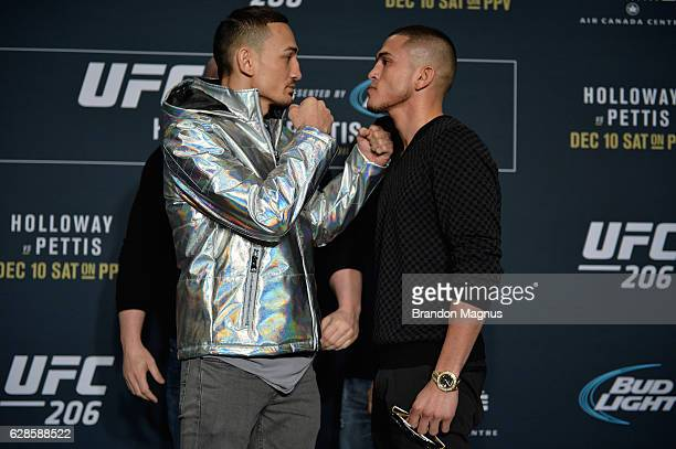 Max Holloway and Anthony Pettis face off during the UFC 206 Ultimate Media Day event inside the Westin Harbour Castle Hotel on December 8, 2016 in...