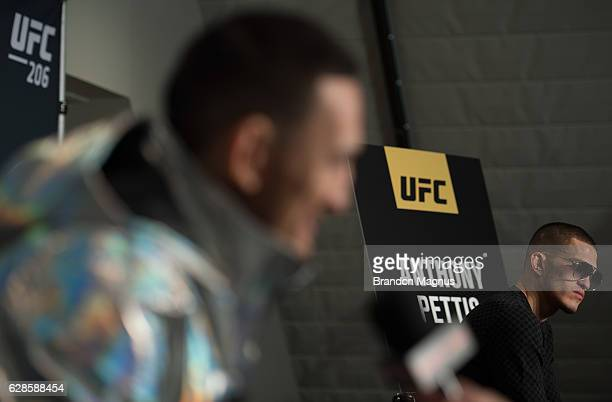Max Holloway and Anthony Pettis speak to the media during the UFC 206 Ultimate Media Day event inside the Westin Harbour Castle Hotel on December 8,...
