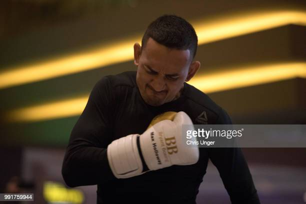 Max Holloway holds an open training session for fans and media during the UFC 226 and The Ultimate Fighter Finale Open Workouts at MGM Grand Hotel &...
