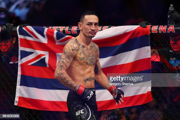 Max Holloway prior to his fight with Jose Aldo of Brazil during UFC 218 at Little Caesars Arena on December 2, 2018 in Detroit, Michigan.