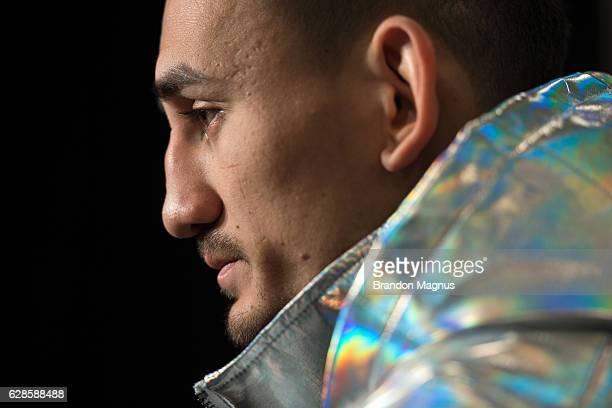 Max Holloway speaks to the media during the UFC 206 Ultimate Media Day event inside the Westin Harbour Castle Hotel on December 8, 2016 in Toronto,...