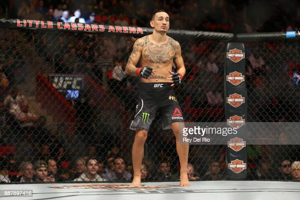 Max Holloway stands in the Octagon prior to his bout against Jose Aldo during the UFC 218 event at Little Caesars Arena on December 2 2017 in Detroit...
