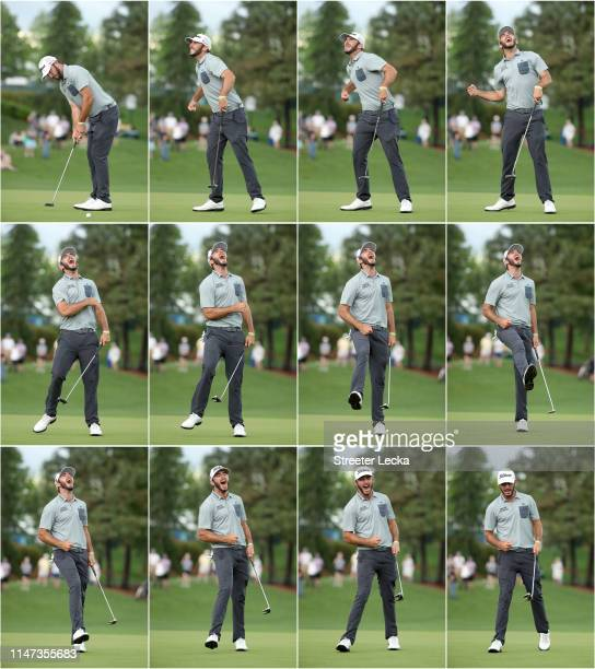 Max Homa celebrates on the 18th green after making his par putt to win the 2019 Wells Fargo Championship at Quail Hollow Club on May 05, 2019 in...
