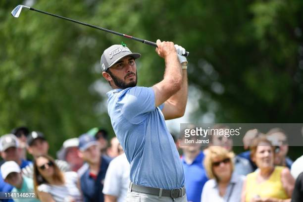 Max Homa hits a shot on the eighth tee during the third round of the Wells Fargo Championship at Quail Hollow Club on May 4 2019 in Charlotte North...