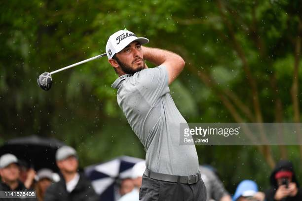 Max Homa hits a shot on the eleventh tee during the final round of the Wells Fargo Championship at Quail Hollow Club on May 5 2019 in Charlotte North...