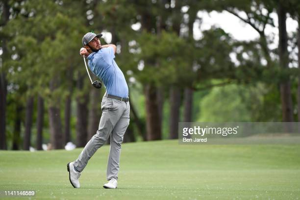Max Homa hits a shot on the tenth fairway during the third round of the Wells Fargo Championship at Quail Hollow Club on May 4 2019 in Charlotte...