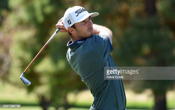 Max Homa hits his drive on the fifth hole during the second round of the Albertsons Boise Open at the Hillcrest Country Club on September 14 2018 in...