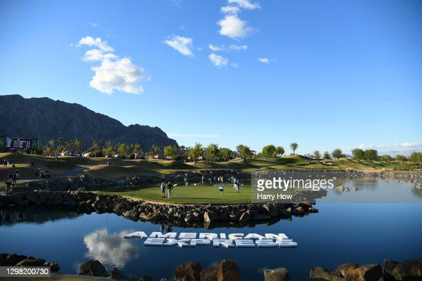 Max Homa lines up a putt on the 17th hole during the final round of The American Express tournament on the Stadium course at PGA West on January 24,...