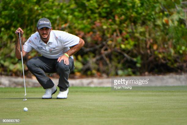 Max Homa lines up a putt on the second hole during the final round of the Webcom Tour's The Bahamas Great Exuma Classic at Sandals Emerald Bay...