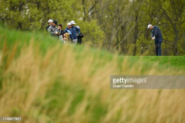 Max Homa of the United States plays a shot during a practice round prior to the 2019 PGA Championship at the Bethpage Black course on May 14 2019 in...