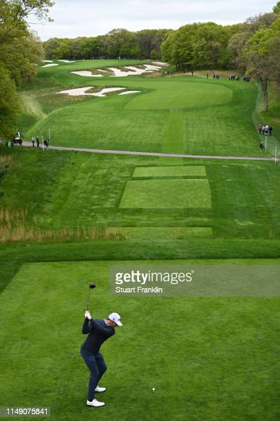 Max Homa of the United States plays a shot from the fourth tee during a practice round prior to the 2019 PGA Championship at the Bethpage Black...