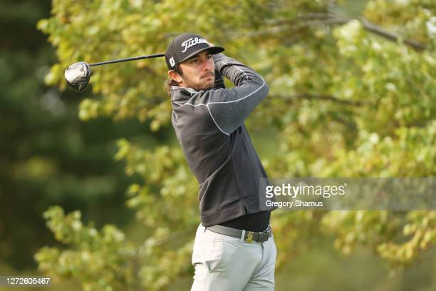 Max Homa of the United States plays his shot from the second tee during a practice round prior to the 120th U.S. Open Championship on September 15,...