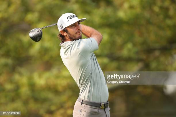 Max Homa of the United States plays his shot from the second tee during the first round of the 120th U.S. Open Championship on September 17, 2020 at...