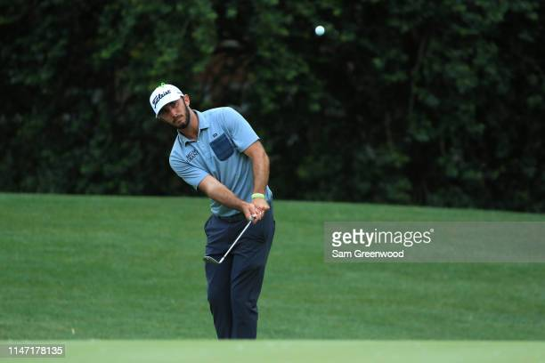 Max Homa plays a chip shot on the 13th hole during the final round of the 2019 Wells Fargo Championship at Quail Hollow Club on May 05 2019 in...