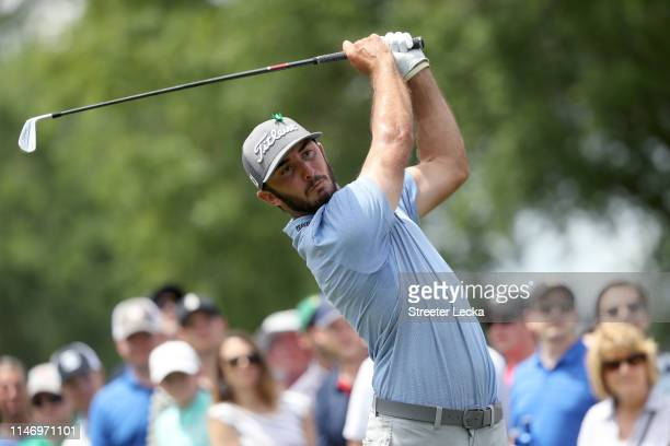 Max Homa plays his shot from the eighth tee during the third round of the 2019 Wells Fargo Championship at Quail Hollow Club on May 04 2019 in...