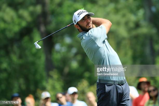 Max Homa plays his shot from the sixth tee during the final round of the 2019 Wells Fargo Championship at Quail Hollow Club on May 05 2019 in...